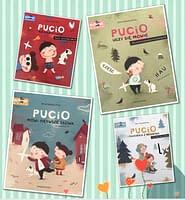 Pucio mówi pierwsze słowa, Pucio uczy się mówić, Pucio i ćwiczenia z mówienia, Pucio na wakacjach - wiek 3+